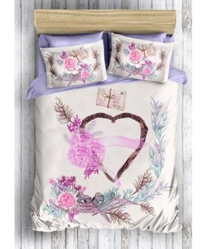 SET DE PAT CU IMPRIMEU ROMANTIC MULTICOLOR LEUNELLE - SET DE PAT CU IMPRIMEU ROMANTIC MULTICOLOR LEUNELLE