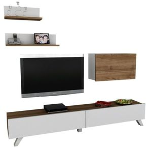 MOBILA LIVING COMODA TV WOODEN ART, ALB-NUC - MOBILA LIVING COMODA TV WOODEN ART, ALB-NUC