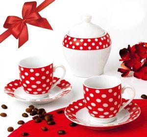 SERVICIU DE CAFEA OTI, PORTELAN, 6 PIESE, ALB CU BULINE ROSII - SERVICIU DE CAFEA OTI, PORTELAN, 6 PIESE, ALB CU BULINE ROSII