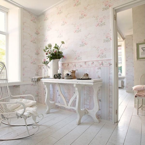 TAPET FLORAL SHABBY CHIC